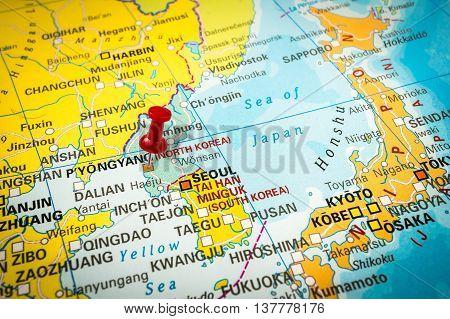 Red Thumbtack In A Map, Pushpin Pointing At Pyongyang