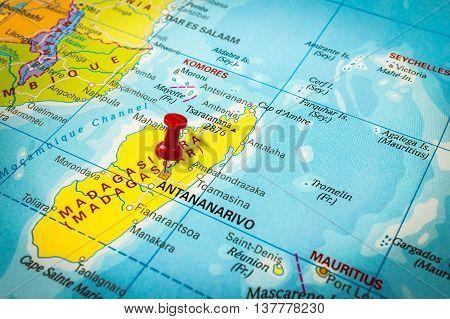 Red Thumbtack In A Map, Pushpin Pointing At Antananarivo