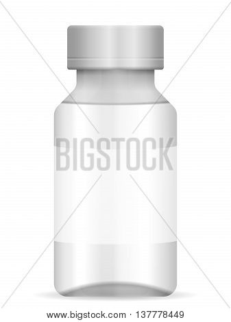 Glass vial on a white background. Vector illustration.
