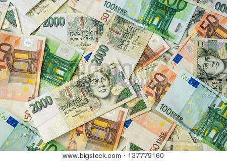 Czech And Euro Banknotes Background