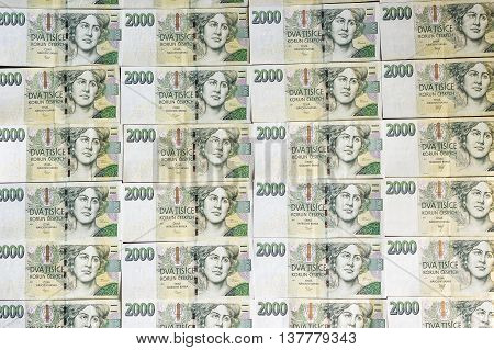 Czech Money Array In Pattern