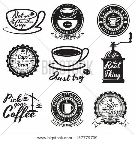 Set of vintage coffee badges and signs. Contains coffee cups coffee beans coffee mills and other design elements combined with different coffee slogans. For coffee shops restaurants or cafes.