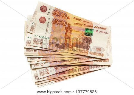 Five Thousand Russian Rubles Isolated On White Background