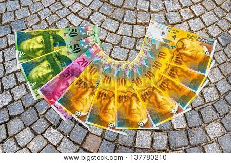 A Pile Swiss Franc Currency Banknotes