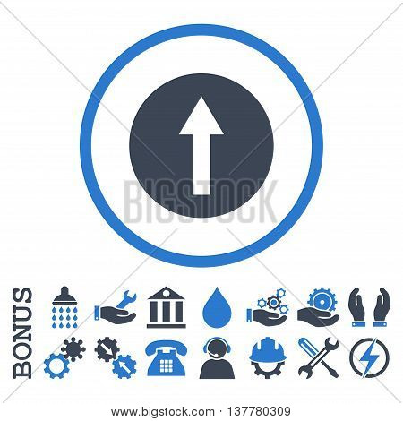 Up Rounded Arrow glyph bicolor icon. Image style is a flat pictogram symbol inside a circle, smooth blue colors, white background. Bonus images are included.