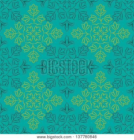 Traditional Indian pattern with round floral elements. Golden and dark turquoise elements on turquoise background. Seamless repeat.