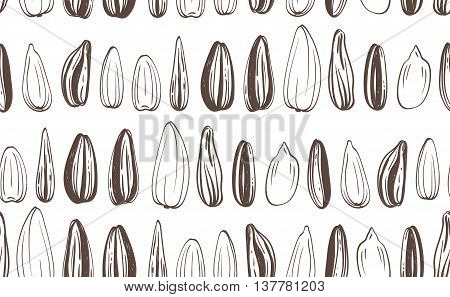 Seamless Sunflowers Seeds Background. Hand-drawn Vector illustration.