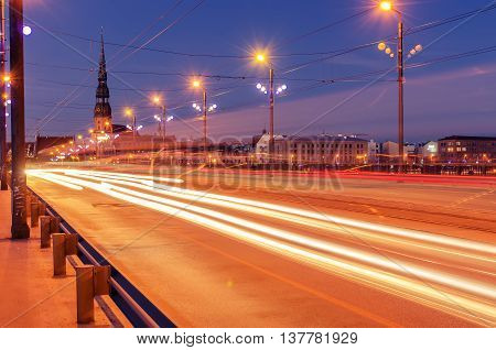 Riga, Latvia: Akmens tilts bridge at night