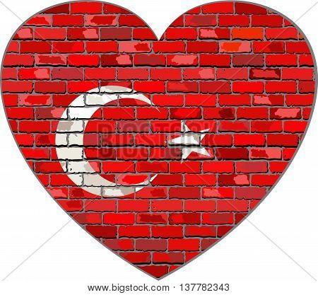 Flag of Turkey on a brick wall in heart shape - Illustration, Turkish flag in brick style,  Abstract grunge Turkey flag