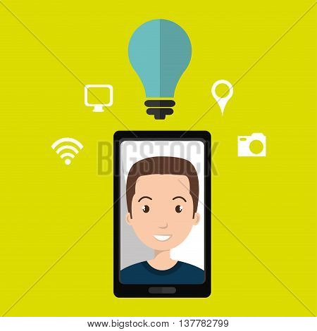 Smart phone and man isolated icon design, vector illustration  graphic