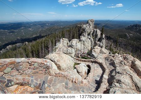 Stone staircase leading down from Harney Peak Fire Lookout Tower in the Custer State Parks Black Elk Wilderness in the Black Hills of South Dakota United States