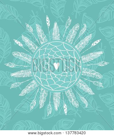 Dream catcher with feathers. Beautiful hand-drawn background for invitations,posters and any design. Vector tribal illustration.