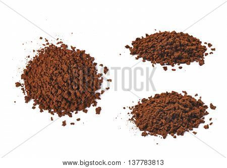 Pile of instant coffee grains isolated over the white background, set of three different foreshortenings