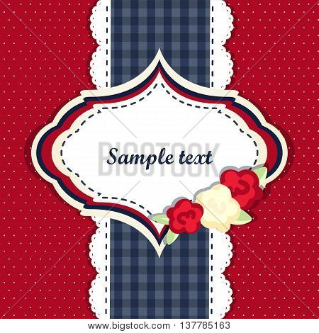shabby chic. card. swatch. red and dark blue. vector illustration