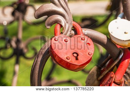Love Padlocks Or Love Locks On A Railing