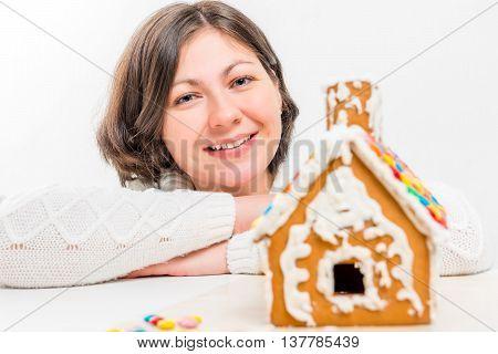 Beautiful Woman And A Gingerbread House Handmade