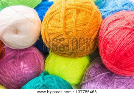 Colored Woolen Thread A Bunch Of Close-up Photos