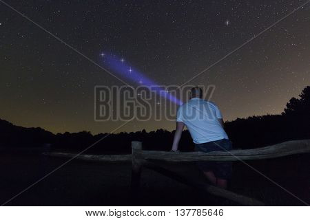 Man with a flashlight pointing to big dipper. Starry night Polaris star, Ursa Major, Big Dipper constellation. Beautiful night sky. Clear sky concept and background
