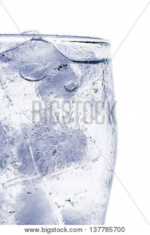 ice cubes in glass isolated on white background