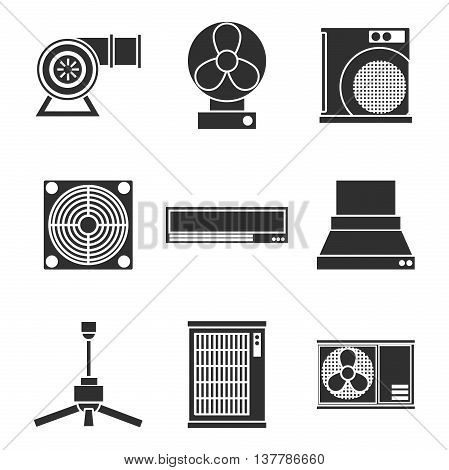 Conditioning system icons set. Vector illustration, EPS 10