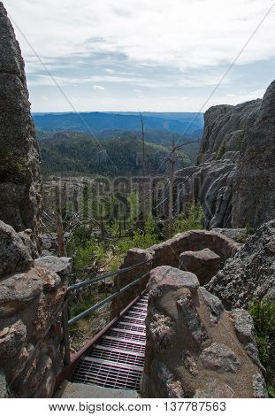 Metal Stairs leading down from the Harney Peak Lookout Fire Tower on Harney Peak Trail No. 9