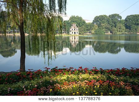 Park gardens, Hoan Kiem Lake, downtown Ha Noi, Vietnam