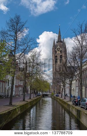 View of Oude Kerk (Old Church) is a Gothic Protestant church in the old city center of Delft Netherlands