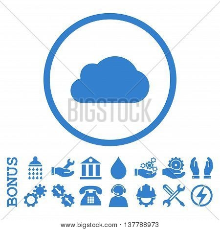 Cloud glyph icon. Image style is a flat pictogram symbol inside a circle, cobalt color, white background. Bonus images are included.
