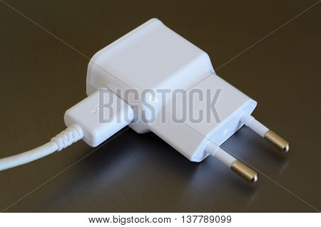 White electric plug with USB socket and USB plug.