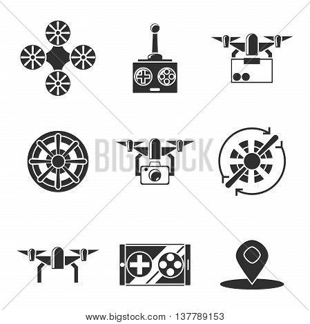 Quadrocopter icons set. Vector illustration, EPS 10