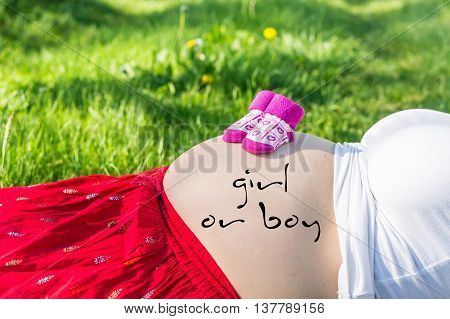 Pregnant Young Girl On Grass In The Garden