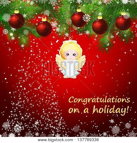 Vector New Year design background. Template card whit red Christmas balls on the green branches . Silhouette of a Christmas tree made of stars. Falling snow. Toy decorative angel.