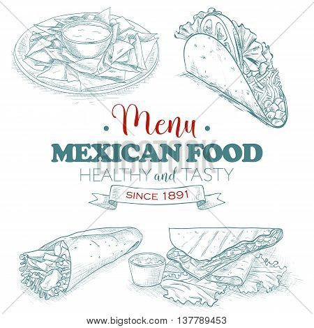 Scetch mexican food menu. Vector illustration, EPS 10