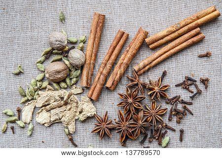 Nutmeg Star Anise Cardamom Nutmeg Cinnamon Ginger Clove Spice Canvas