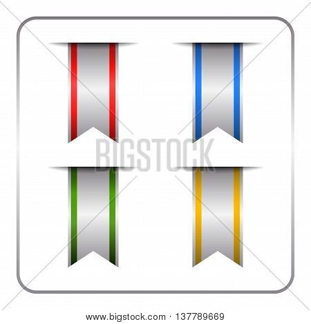 Silver and colored bookmark banners set. Vertical book marks labels isolated on white background. Flag symbol sign. Design elements collection. Empty tag stickers. Template icons. Vector illustration