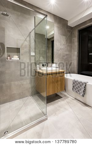 Luxury Bathroom With Water Tub And Shower