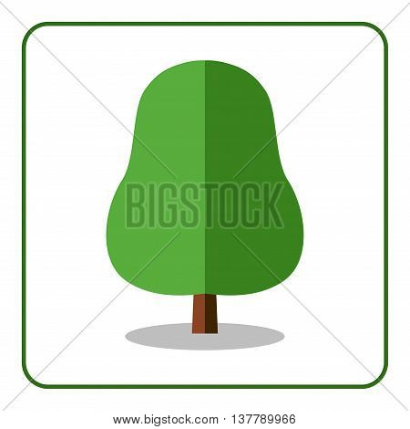 Oak or linden tree icon. Flat design sign. Trendy beautiful floral element isolated on white background. Green silhouette deciduous tree. Symbol nature forest and growth organic. Vector illustration