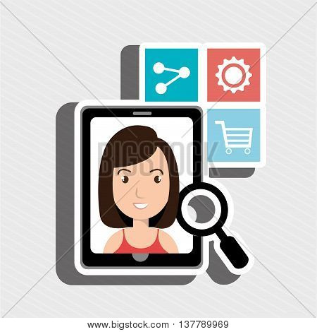 woman whit files isolated icon design, vector illustration  graphic