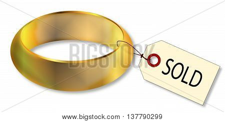 A wide solid gold bright wedding style ring with sold tag