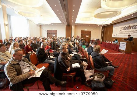 "MOSCOW - OCTOBER 2: Conference ""Stock in Russia 09"" on October 2, 2009 in Holiday Inn Lesnaya, Moscow, Russia.  Participants listening to the speaker"