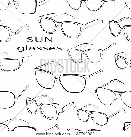 Set of the different sun glasses pattern. Vector illustration, EPS 10