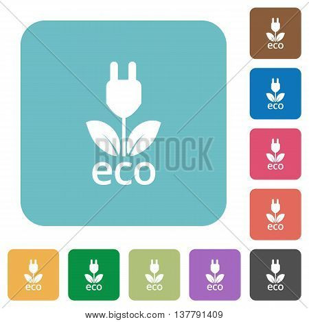 Flat eco energy icons on rounded square color backgrounds.