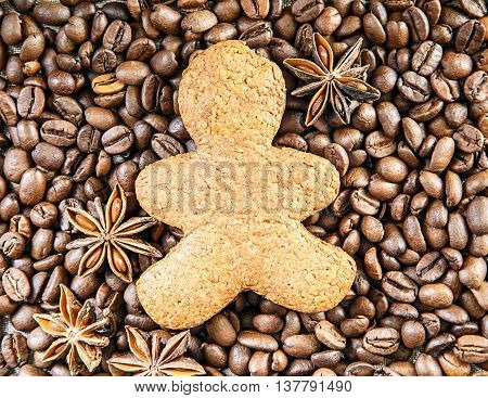 biscuit man on dark roasted coffee beans