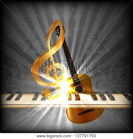 Vector illustration of a bright musical background with a treble clef and piano keys. You can use any text or image on a black background.