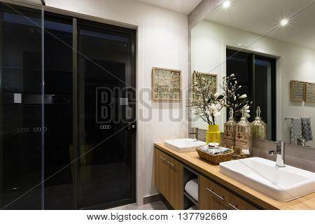 Luxury Washroom With Lights On At Night