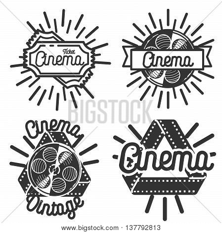 Set of cinema labels. Vintage cinema emblems. Elements for design on the cinema theme. Vector illustration