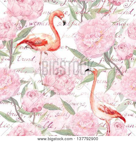 Pink flamingo birds with peony flowers and hand written text. Vintage floral seamless pattern. Watercolor