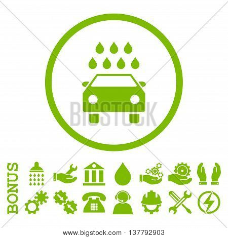 Car Shower glyph icon. Image style is a flat pictogram symbol inside a circle, eco green color, white background. Bonus images are included.