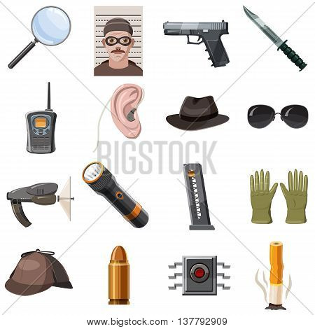 Spy icons set in cartoon style isolated vector illustration