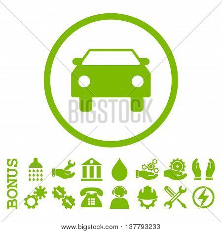 Car glyph icon. Image style is a flat pictogram symbol inside a circle, eco green color, white background. Bonus images are included.